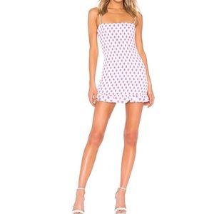 Lovers + Friends Burson Pink polka Dot Dress